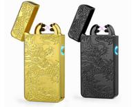 arc retail - Pulse Arc Lighter USB charging pulse windproof lighter golden eagle Ssangyong dragon tribal cigarette lighter exquisite retail box multicolo