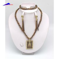 american suites - Fashion class three color twist rope copper necklace bracelet earrings jewelry suite domineering banquet wedding wedding banquets