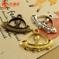 alien number - A3623 MM Antique Bronze DIY handmade jewelry America sci fi movie alien I want to believe word charms message charms