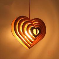 al por mayor diseo cocina colgantes de madera de corazn de lmparas de