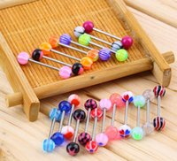 Wholesale New Multicolored Acrylic Tongue Rings Stainless Steel Barbell Tongue Nail Hypoallergenic Tongue Piercing Jewelry Type I