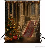 Wholesale Yame x7ft Vinyl Digital Christmas Tree Castle Place Photography Studio Backdrop Background