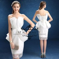 Wholesale New Designer Lace Cocktail Dresses Sheath Gown Ruched Organza White Strapless Knee Length Illusion Bodice Women Party Evening Dress