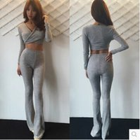 bell sleeved - 2016 Europe and America new Wrap thread cotton sexy low cut cross sleeved waist bell bottom pants suit lo shi