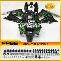 Wholesale Injection Mold Fairing Kit With Tank Cover Fits CBR600 F3 CBR Black Green Flame B91