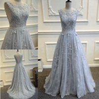 Wholesale Elie Saab Evening Dresses Lace Ball Gowns Backless Prom Dresses Sleeveless Beaded Appliques Silver Formal Gowns