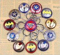 Wholesale 2016 The Avengers New Marvel Superhero Iron Man Captain America superman Shield Action Figure Keychain Keyring Doll