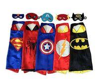 Wholesale 78 designs children superhero supergirl batman captain america robin transformer cape and mask sets Kids Cosplay children christmas gifts