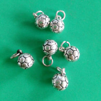 antique soccer balls - Zinc Alloy Metal Antique Silver Plated Soccer Ball Charms Pendant DIY Floating Charms mm jewelry making