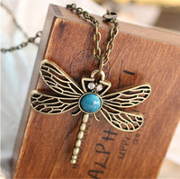 Wholesale 2016 New Vintage Jewelry Retro Hollow Dragonfly Korean Long Paragraph Sweater Chain Pendant Necklace For Women