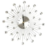 Wholesale Excellent Quality cm Novelty Diamond Crystal Jeweled Beaded Sunburst Wall Clock living room Silver Wire