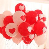 achat en gros de ballons coeur de latex-50PCS Ballons ronds de coeur Ballons Ballons rouges Ballons blancs Ballons de latex de coeur de mariage Engagement de mariage proposent des ballons de mariage