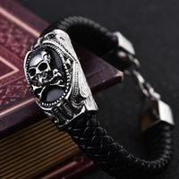 act steel - Men s leather bracelets titanium steel leather cord bracelet tide restoring ancient ways male jewelry skulls domineering hand act the ro