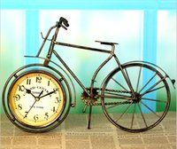 Wholesale Home Office Table Clock Retro Bicycle Design Alarm Clock cm Art Table Desk Bike Clock Home Decoration