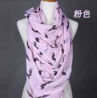 beach air - Print Voile Scarves mustache Scarf Beach towels air conditioning shawl Women Pashmina new style New Year gift