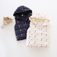 Wholesale infant baby autumn winter coats baby girl clothing coat children s cartoon coat girl plush coats bow printing cotton vest