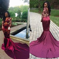 t-shirt dresses - Vestidos Burgundy Mermaid Long Sleeves Prom Dresses Lace Appliqued Satin Sweep Train Prom Dresses Party Evening Gowns