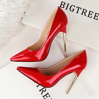 aa ladies - W16S033 Lady Dress Shoes Nude Women Pointed Toe Thin High Heels PU Leather Sexy Party Festival Wedding Shoes Women Pumps
