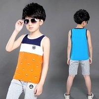 Wholesale The new children with boy child sleeveless vest suits summer cuhk two piece cotton years old