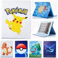 Wholesale Poke Case for Apple iPad Tablets PU Leather Cartoon Tablet PC Bags Pikachu patterned protect cover Stand Flip Cover Skin styles OOA634