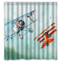 airplane curtains - Custom Creative Home Ideas Retro Vintage Airplane Painting Bathroom Waterproof Polyester Fabric x181cm Shower Curtain