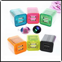 ac power flash - 5V A A Dual USB cell phone chargers transparent LED light flashing usb charger AC power adapter with colors for iphone ipad samsung