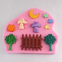 Pastel de silicona 3D Moldes estrella de la luna del árbol del gato Cercos pasta de azúcar de herramientas de decoración de tortas mejillones sugarcraft del molde del chocolate de la jalea MAYOR