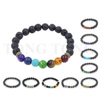 Wholesale 8 cm Muti color Natural Lava Stone Bracelets Beads Jewelry Reiki Prayer Stones Fatima Bracelet for Women Men