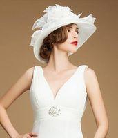 aristocrat free - New Arrival Women Magic white organza hat female aristocrat With Organza Brim Winter Dress Hat Sun Hat Sinamay Ribbon