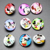 mouse animal - 100Pcs Mickey Mouse Pattern mm Button NOOSA Ginger Snap Charms Jewelry Interchangeable Jewerly Charms Pendants Necklace