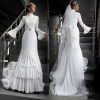 arabic bridal wear - 2016 Modest Muslim Wedding Dress High Neck Bell Long Sleeves Lace Appliques Bridal Gowns with Beaded Sash Tiered Skirt Arabic Bride Wear