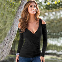 Wholesale Women Fashion New V neck Sexy Off Shoulder Long Sleeved T shirt Slim Stretch Solid Shirts Size S XL