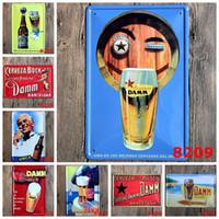 Wholesale quot DAMM quot Vintage Metal Painting Tin Signs Bar Pub Gallery Shop Wall Decor Retro Mural Poster Home Decor Craft cm