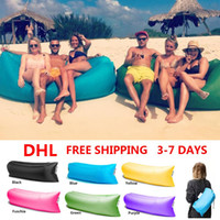 Wholesale Ship by DHL Nylon Lamzac Hangout Inflatable Sofa Beach Sleeping Bag Bed Air Laybag Lounger Lazy Bag Chair Air Camping Sofa