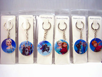 Wholesale Brand New Frozen Anna and Elsa Cartoon Round Wooden Key rings chains mixed