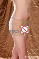 al por mayor pantimedias para hombres-Sexy Cara Color Unisex Hombres y Mujeres Transparente Breve Shorts Sheer Unisex Thin Pantyhose Ropa interior Boxer Trunks