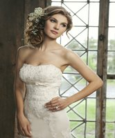 beautiful bead embroidery - 2016 Mermaid Wedding Dresses Vestidos de Matrimonio Strapless Lace Empire Sweep Train Elegant Bridal Wear Beautiful Wedding Dress