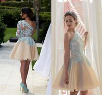 Wholesale 2016 Little Short Party Dresses One Shoulder Illusion Lace Appliques Short Mini Half Sleeves Champagne Party Dress Cocktail Gowns BA2948