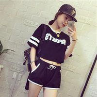 baseball pajamas - Spring and summer new arrival women short sleeved cotton pajamas Korean leisure sports letters suit tracksuit