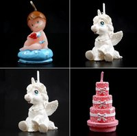 Wholesale Baby Bottle Candle Lovely Angel Birthday Candle Creative Art Craft Candle Eco Friendly No Smoke Baby Birthday Gift JF