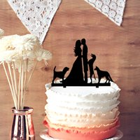 Table Centerpieces angels kiss - Wedding Cake Topper Groom and Bride Kissing Couple with Dogs Silhouette Cake Decoration Happy Family Wedding Cake Topper
