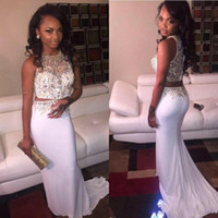 african photos - 2016 White African Style Sexy Two Piece Prom Dresses Sheath Rhinestones Beaded Long Luxury Mermaid Formal Evening Party Gowns Vestidos