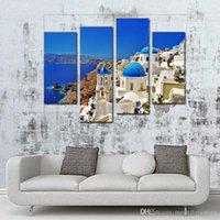 aegean sea - Traditional And Famous White Houses And Churches With Blue Domes Over The Caldera Aegean Sea Piece Panel For Living Room Decoration