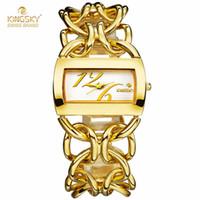 big clock chain - 2016 New Fashion Women Watches Brand KINGSKY Rectangle Case Big Chain Shape Band Dress Quartz Watch Reloj Mujer Clock