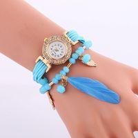 beaded bracelet watch - Fashion Beaded diamond bracelet watches bead feather pendant watch Luxury Handmade watches for women Rope weave leather wristwatch