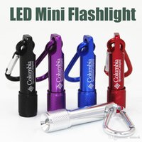 Wholesale 50pcs Birthday christmas lights gifts LED Mini Flashlight Aluminum Alloy Torch with Carabiner Ring Keyrings Key Chain mini LED Flashlight