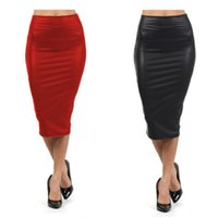 Wholesale High waist Leather Skirt XL XXL XXXL Black red sexy Pencil skirts middle long Casual mermaid skirt party bar club travel