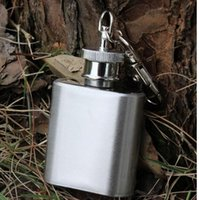 Wholesale whisky stainless steel Hip Flask portable party outdoor Keychain liquor bottles Alcohol Pocket oil bottle with Key chains flasks