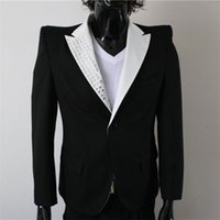 Wholesale New MJ Professional Cosplay Michael Jackson CostumeTHIS IS IT POWER SHOULDER JEWEL JACKET