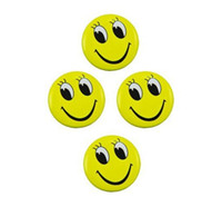 Wholesale 4 mm tinplate pin badge welcome smiling face chest brooch store exibition staff decoration badge
